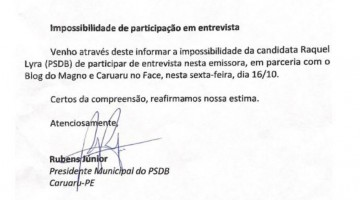 Candidata à reeleição em Caruaru, Raquel Lyra (PSDB), desiste de ser sabatinada