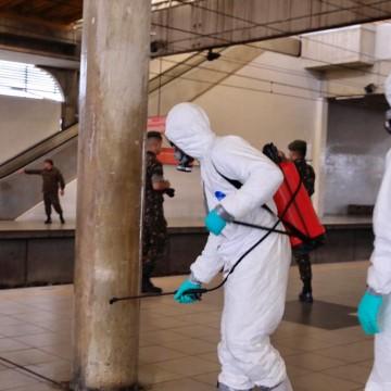 Desinfecção de estações de metrô no Recife começam a ser realizadas pelo Comando Conjunto NE