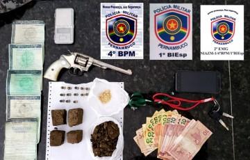 Polícia prende homem por porte ilegal de arma de fogo e tráfico de drogas, em Caruaru