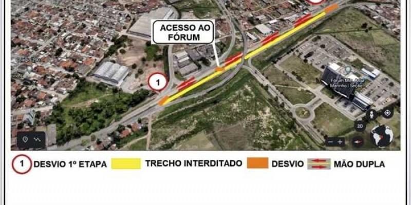 Inicialmente, o serviço será executado no trecho de 700 metros de extensão, que vai das imediações do viaduto da Ceasa até o acesso à Avenida Abdias de Carvalho