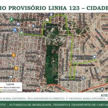 Desvio provisório de rota dotransporte público no Bairro Cidade Jardim em Caruaru
