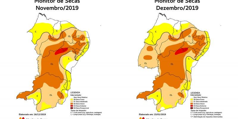 Entre novembro e dezembro de 2019, a leve expansão da seca para o litoral norte fez com que todo o território pernambucano registrasse o fenômeno