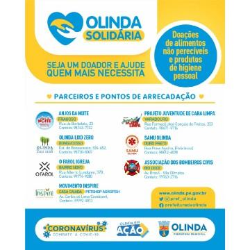 Projeto Olinda Solidária arrecada alimentos e produtos de higiene pessoal