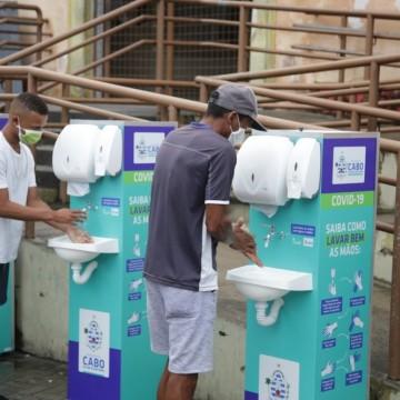Pias móveis são instaladas em praças públicas do Cabo de Santo Agostinho
