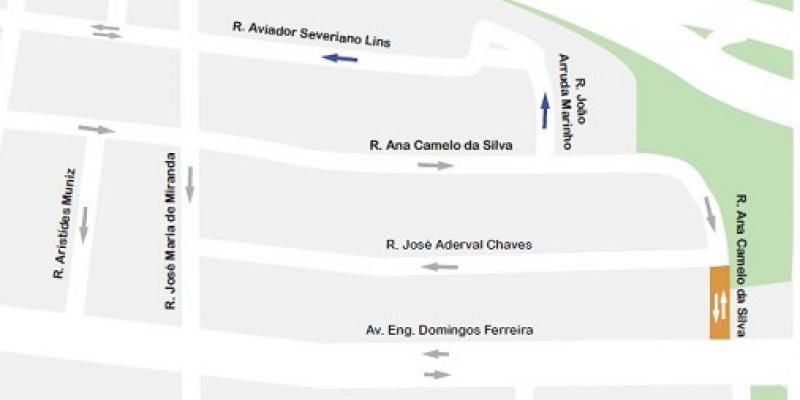 A Autarquia de Trânsito e Transporte Urbano do Recife implantousentido único nas ruas João Arruda Marinho e Aviador Severiano Lins