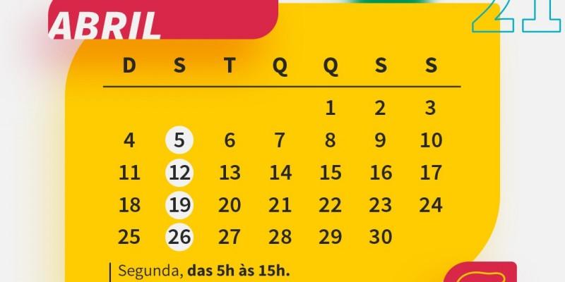 As feiras vão continuar acontecendo às segundas-feiras, das 5h às 15h