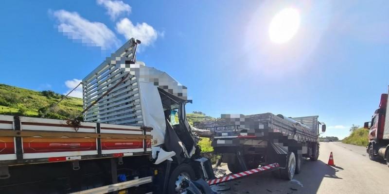 Segundo a PRF, passageiro de um dos caminhões faleceu no local do acidente, na altura de Vitória de Santo Antão