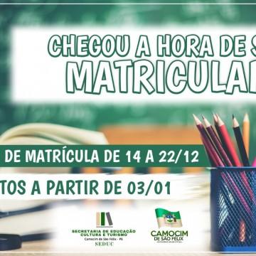 Secretaria de Educação de Camocim anuncia início do período de matrículas para Rede Municipal de Ensino