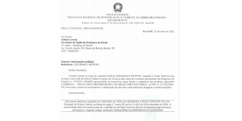 A PF protocolou ofício, na manhã de hoje, solicitando informações sobre o combate à covid-19