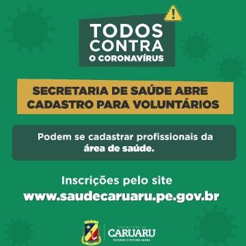 Secretaria de Saúde de Caruaru convoca voluntários