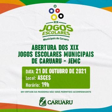 Abertura dos XIX Jogos Escolares Municipais de Caruaru acontece hoje
