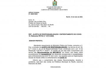 Relator do TCE cobra mais transparência da Prefeitura do Recife nos gastos emergenciais com a covid-19