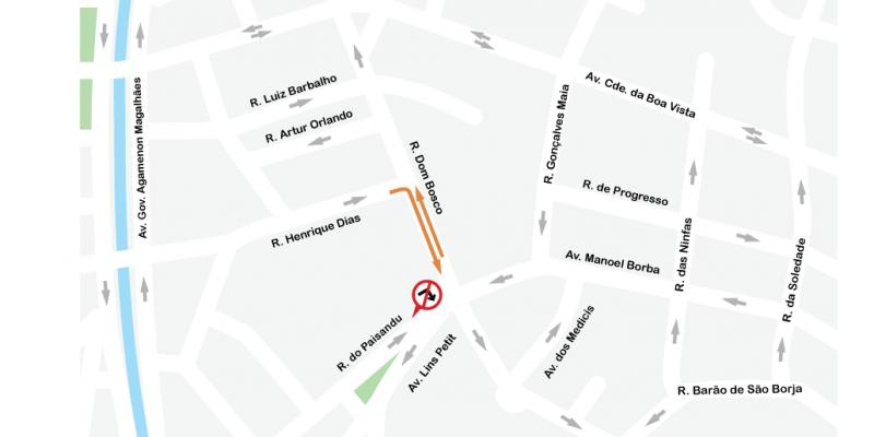 A partir deste fim de semana começa um sentido duplo na Rua Dom Bosco, no trecho compreendido entre ruas Henrique Dias e do Paissandu