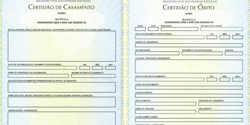 Segundas vias de certidões de nascimento, casamento e óbito serão realizadas de forma gratuita em Itaquitinga, Paulista e Limoeiro