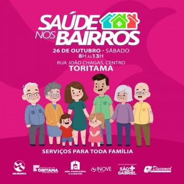 Projeto 'Saúde nos Bairros' será realizado em Toritama neste sábado (26), com serviços gratuitos