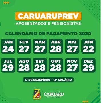 Prefeitura de Caruaru divulga calendário de pagamento anual dos aposentados e pensionistas do CaruaruPrev