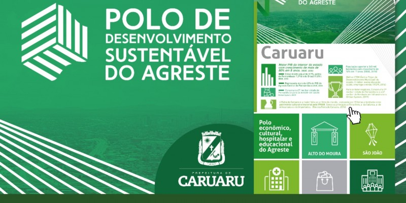 O site destaca os números referentes ao Polo de Desenvolvimento Sustentável do Agreste (PDSA)