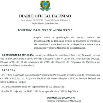 Governo oficializou a inclusão do Serpro no programa de privatização