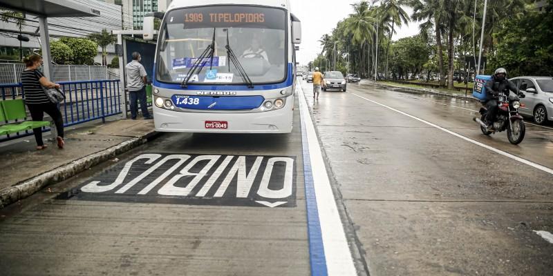 Os 4 km de extensão do corredor exclusivo para ônibus e táxis com passageiros está funcionando há uma semana