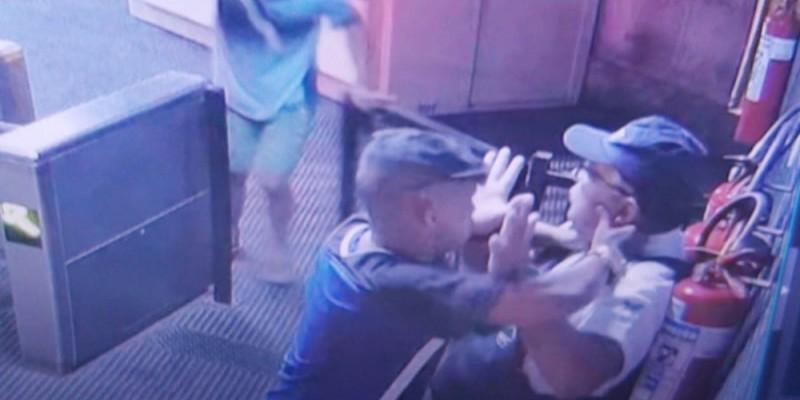 Imagens feitas pelas câmeras de segurança da CBTU, mostram o momento em que o trabalhador é abordado por dois homens