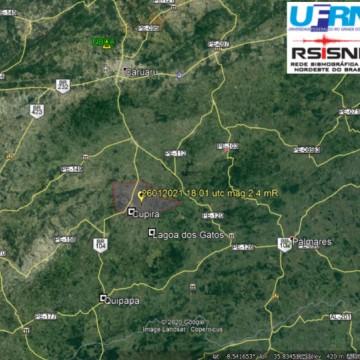 Um tremor de terra foi registrado no município pernambucano de Cupira