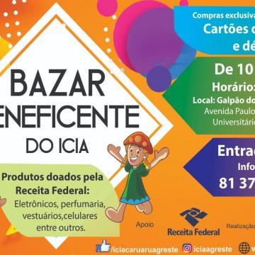 O Icia realiza Bazar Solidário com produtos doados pela Receita Federal.
