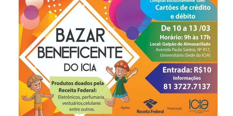 O Bazar Solidário do Icia começa, pontualmente, às 08h e segue até às 17h nos quatro dias de vendas.