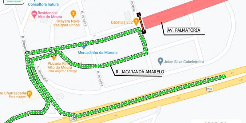 A linha de ônibus 134, que atende o Residencial Alto do Moura, será desviada para Rua Jacarandá Amarelo