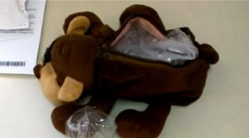 Droga é encontrada dentro de urso de pelúcia e homem é preso