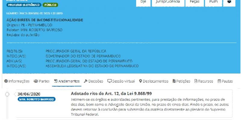 Pelo despacho, o governador de Pernambuco e a Assembleia Legislativa terão dez dias para se manifestar no processo.