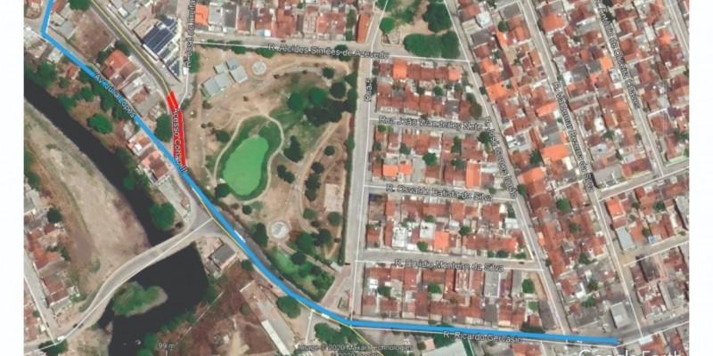 A rua será interditada devido a execução de obras no local