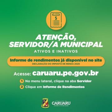 Servidores municipais já podem retirar o Informe de Rendimentos no site da Prefeitura de Caruaru