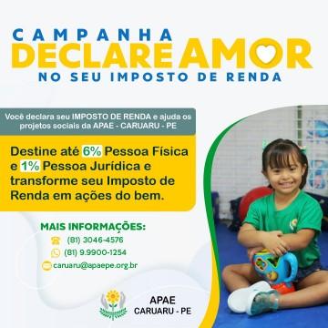 """Campanha """"Declare amor no seu imposto de renda"""" é lançada pelo Apae Caruaru"""
