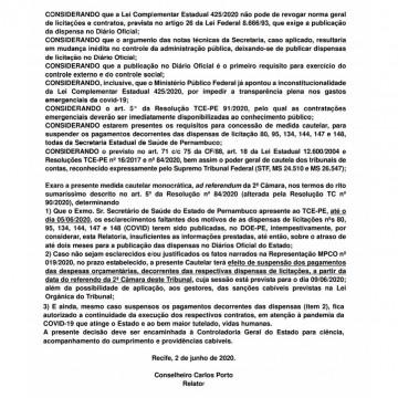 TCE expede cautelar sobre suposta falta de publicidade de seis dispensas da Secretaria Estadual de Saúde para a covid-19