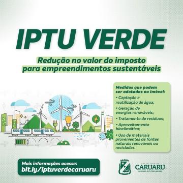 No município de Caruaru haverá desconto no valor do IPTU através de ações sustentáveis