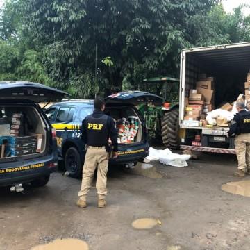 PRF recupera caminhão com carga de eletrônicos roubada no Cabo