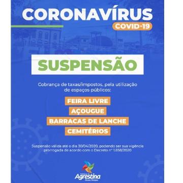 Em virtude do Coronavírus, Prefeitura de Agrestina suspende temporariamente cobranças de taxas públicas