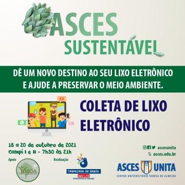 Coleta de lixo eletrônico acontece entre 18 e 20 de outubro na Asces-Unita