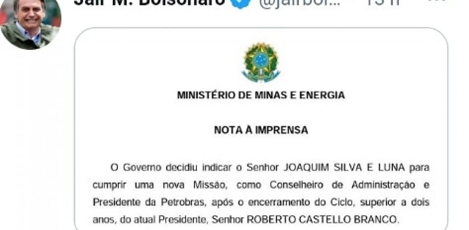 Bolsonaro indica general para presidente da Petrobras; Conselho deve decidir terça