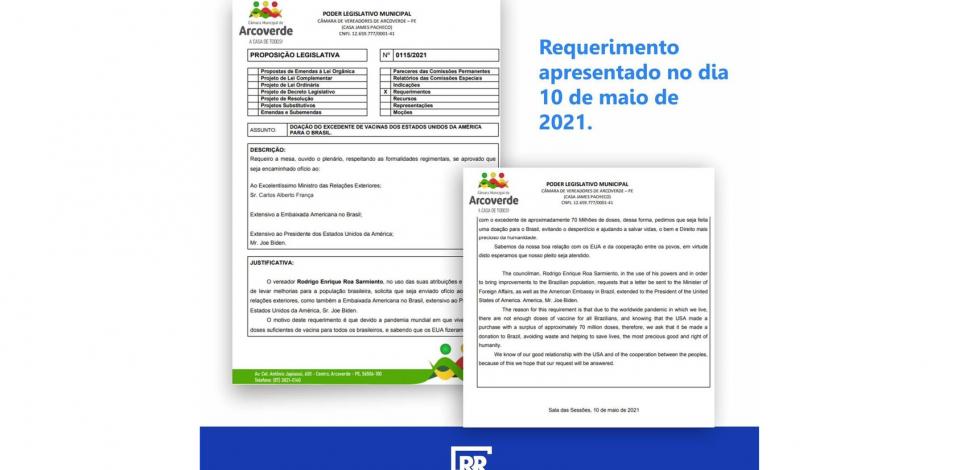 Vereador de Arcoverde diz que após requerimento dele presidente dos EUA fez doação de vacinas para o Brasil