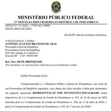 MPF diz que lei pernambucana para compras emergenciais da covid-19 é inconstitucional e pede cautelar do STF